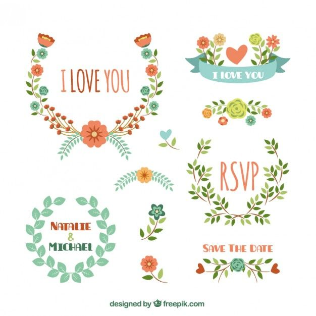 Decoração floral para o casamento Vetor grátis