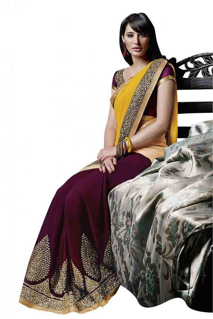Bollywood Nargis Fakhri Georgette Designer Party Wear Saree in Magenta and Yellow Colour