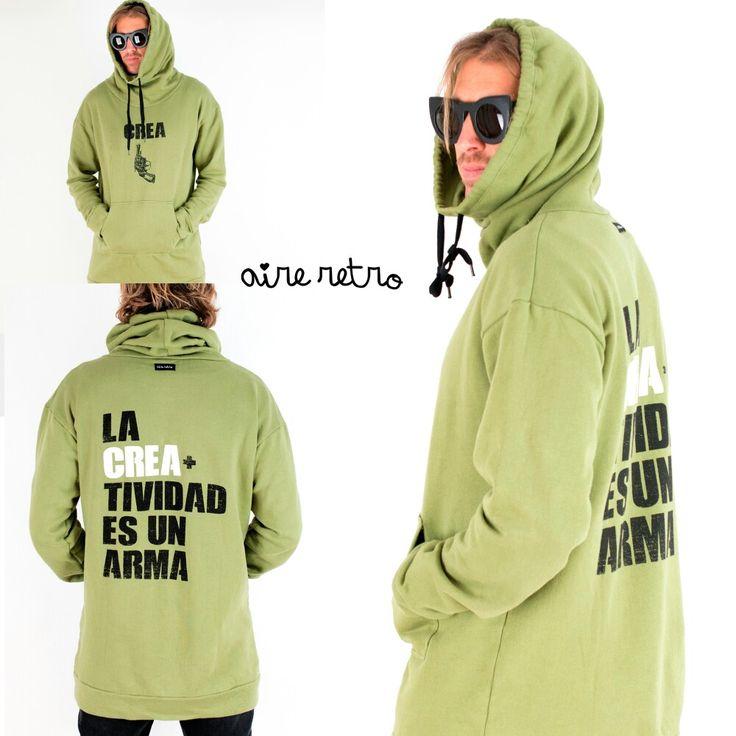 """NOVEDAD. """"La CREAtividad es un arma"""" Unisex. Desde la XS a la XL.  yaaaaa en www.aireretro.es  #aireretro #sudadera #sweatshirt #cantabria #ootd #rock #surf #rockstyle #otoño #autumn #ilustración #diseño #illustration #design #cantabria #fashion #militar #laredo #surfporn #cantabriainfinita"""