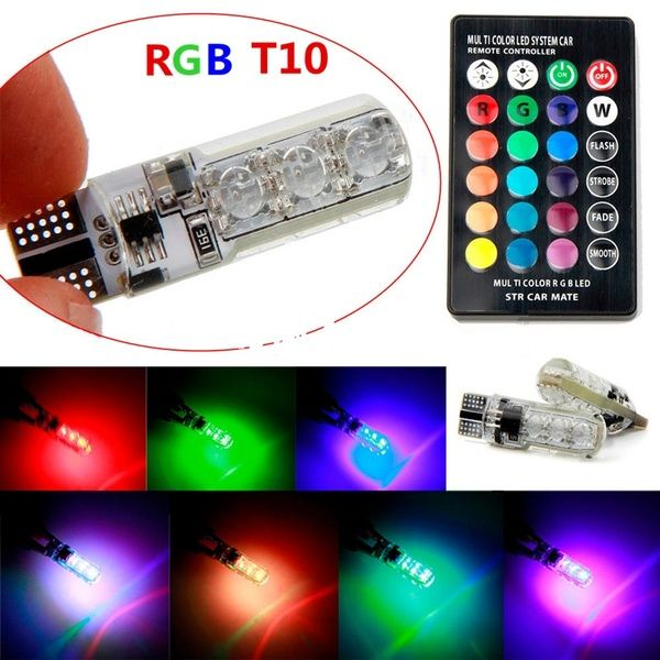 2x T10 6 SMD 5050 RGB LED Car Wedge Side Light Reading Lamp Bulbs Remote Control