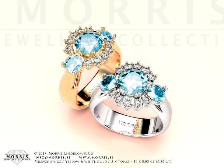 Blue Topaz Ring with Diamonds Topaz Anniversary Ring Diamond