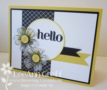 handmade greeting card from Flowerbug's Inkspot ... luv the black, white and yellow color combo .... giant HELLO stamped on die cut circle ... two flowrshop flowers stamped, punched and popped up ... a couple fishtail banners ... like this clustering of elements ... fabulous card!! ... Stampin' Up!