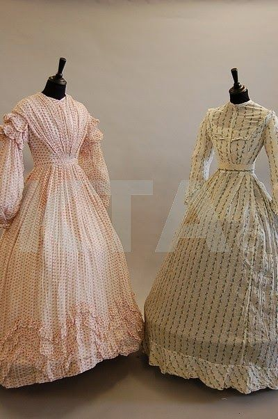 In the Swan's Shadow: Two summer cotton print dresses, 1850s-60s