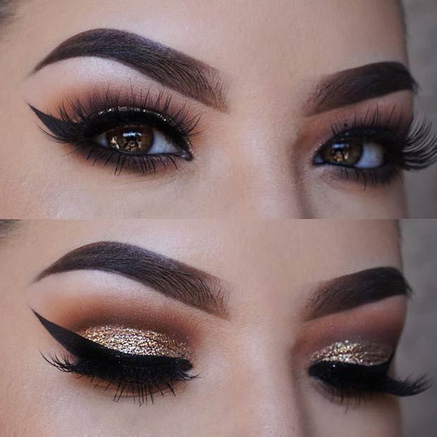 Gold Glitter Smokey Eye Makeup Look For Brown Eyes Glitter Smokey Eye Rock Makeup Smokey Eye Makeup