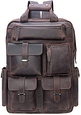 4874932358e Amazon.com: Iswee Vintage Leather Backpack Multi Pockets 17' Laptop Case  Daypack Travel Sports Bag For Men (Dark Brown): Computers & Accessories