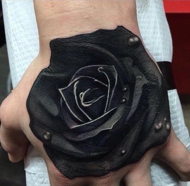 All Black Rose Tattoo