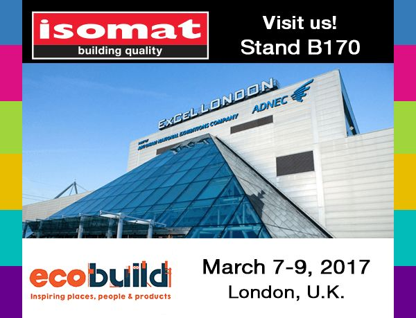 ISOMAT, in cooperation with its authorized dealer in the United Kindgom, SHC, will participate for the second consecutive time in the ECOBUILD exhibition, which will take place at the Excel exhibition center in London, from 7-9 March 2017.