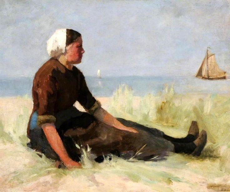 Hendrik Willem Mesdag (1831-1915) Schevenings meisje op het duin. (Coll. BBC.co.uk)
