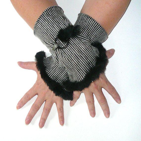 Elegant black white arm cuffs black fur edge metal ring by FredaF, $37.00
