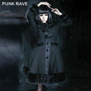 Venda gótico dos casacos de pele do vintage do delírio original por atacado do punk (LY-045/BK)