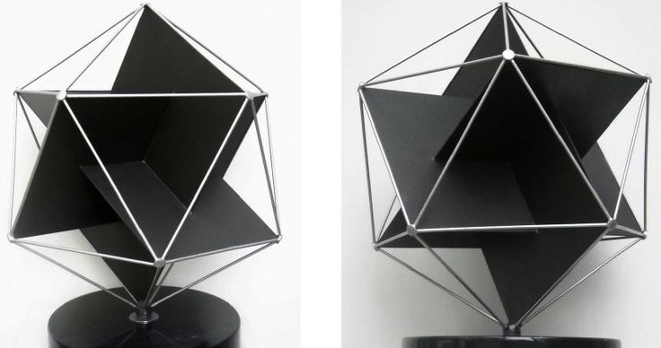 [Elements, Jeff Chyatte] Sculpture inspired by Buckminster Fuller & his studies on Platonic solids, the icosahedron combined with Euclid's Golden Ratio 1 to 1.618 (represented by the Greek letter Phi). Proportions were used by great artists & architects throughout the Renaissance in the form of the Golden Rectangle. We see it in the Parthenon & Da Vinci's Mona Lisa. Painted High Carbon Steel & Concrete.