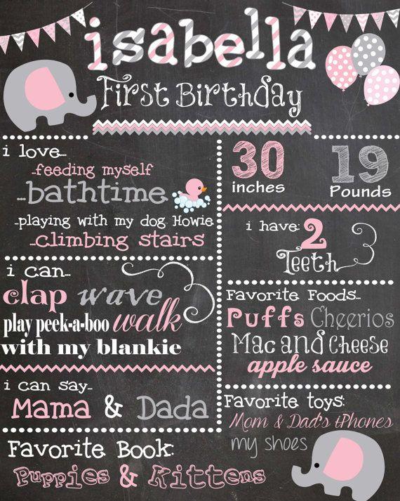 Custom Birthday Colored Chalkboard Poster/ Invitation - Elephants - Pink and Grey - Girl - Shabby Chic - Swirls - Chevron - Polka Dots
