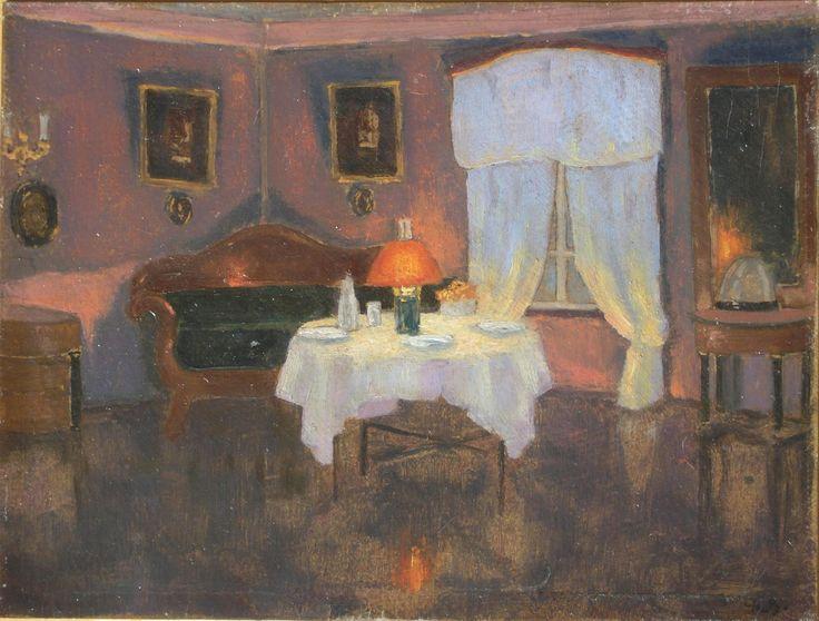 Bronisława RYCHTER-JANOWSKA,Wnętrze salonu, 1923 , olej, tektura, 19,5 x 25,5 cm
