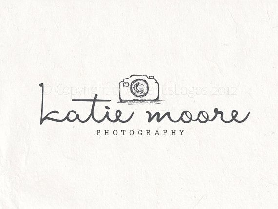 Photography logo design - sketched camera logo watermark. Camera logo Vector and watermark files included.