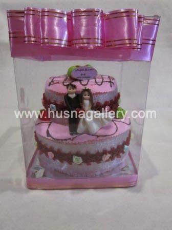 souvenir handuk towel cake tart tingkat 2 pengantin