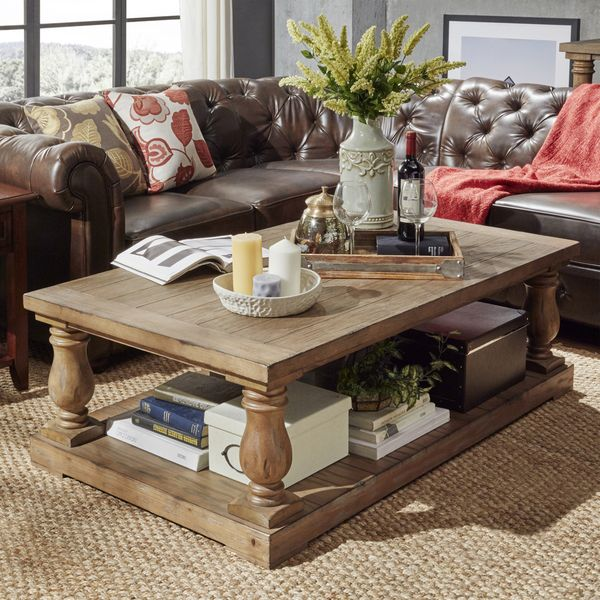 INSPIRE Q Edmaire Rustic Baluster Weathered Pine 55 Inch Coffee Table