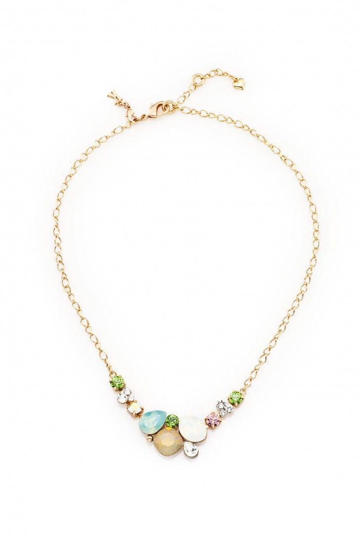Subtelny naszyjnik pozłacany 24-karatowym złotem i ozdabiany kryształami Swarovski Crystals w urokliwych pastelowych barwach.