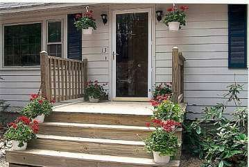 Decks backyards and front deck on pinterest for Front entry decks
