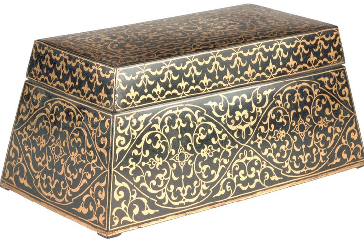 Sireh box and cover. Probably Indonesia, Riau-Lingga Archipelago, 19th century. Brass and gold. This betel nut box is decorated with a technique called niello, in which a black sulphur compound is inlaid into the design. The contrasting pattern is created by hammering.