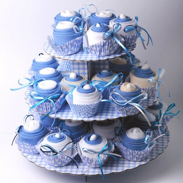 Greek christening favors cupcakes for boy