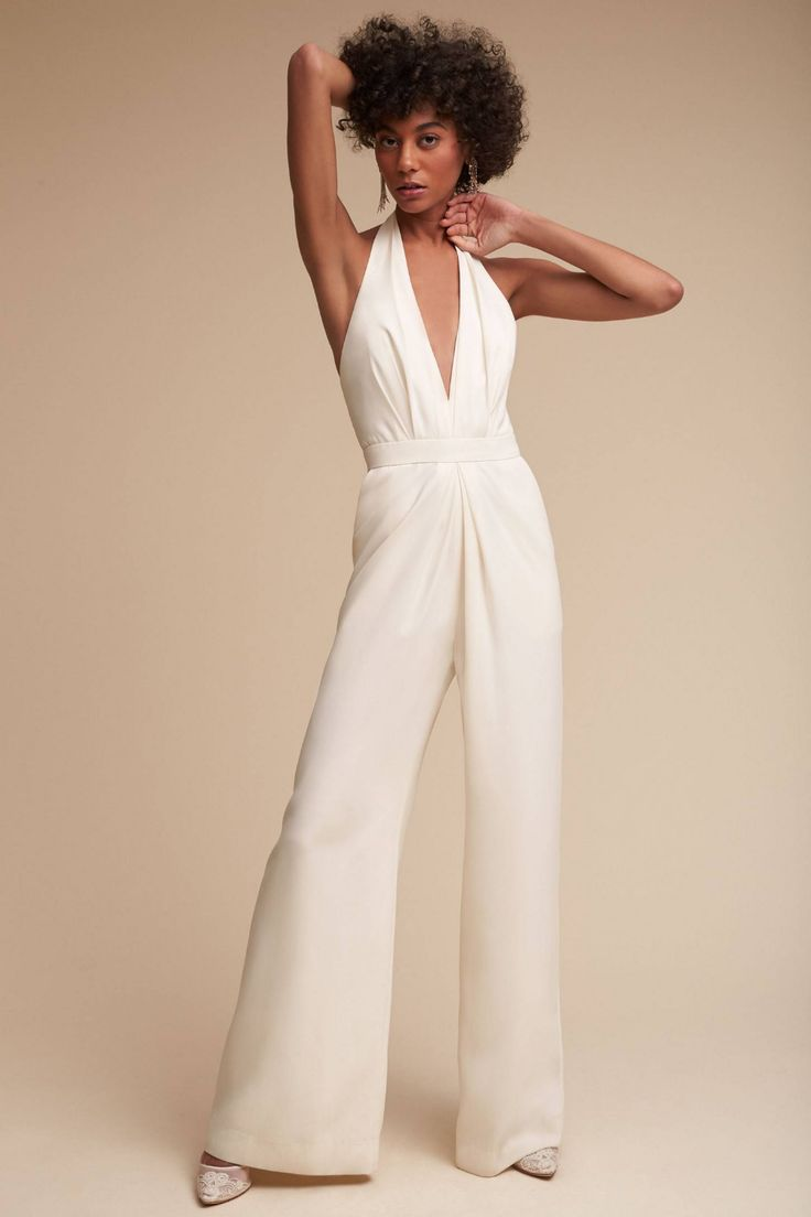 Mara Jumpsuit by BHLDN in White Size: 16, Women's Jumpsuits at Anthropologie 1