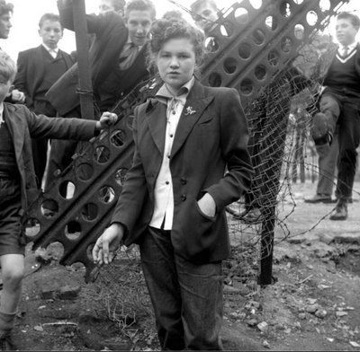"""'Ken Russel's series of documentary """"Teddy Girl"""" photographs were published in Picture Post magazine in the summer of 1955′"""