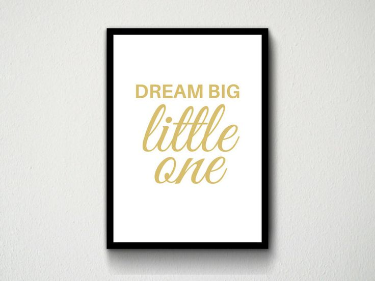 Digital Download Dream Big Little One Baby Babies Nursery Room Decor, Gold, White, Pink, Blue, Customisable, Typography, Wall Art, Print by DesignsByMoniqueAU on Etsy