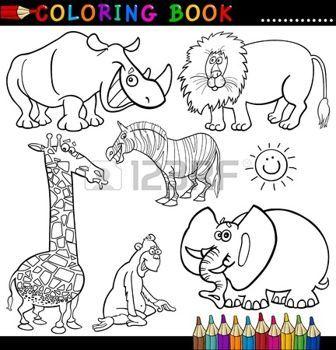 Coloring Book vagy oldal Cartoon illusztráció vicces Wild Safari állatok gyerekeknek photo