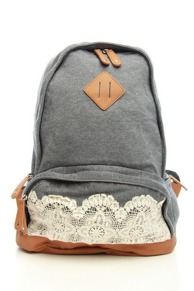 Time For Tea Backpack. The lace would be a great way to add a touch of femininity to a plain backpack.
