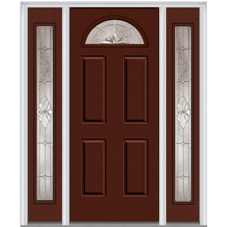 Milliken Millwork 64.5 in. x 81.75 in. Heirloom Master Decorative Glass 1/4 Lite Painted Majestic Steel Exterior Door with Sidelites, Redwood