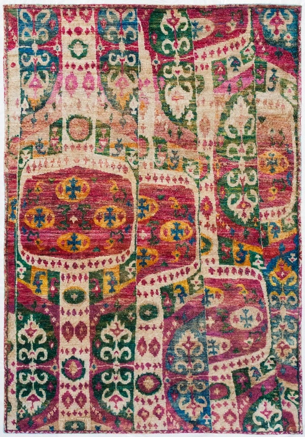 Gorgeous, asymetrical, colorful Ikat rug