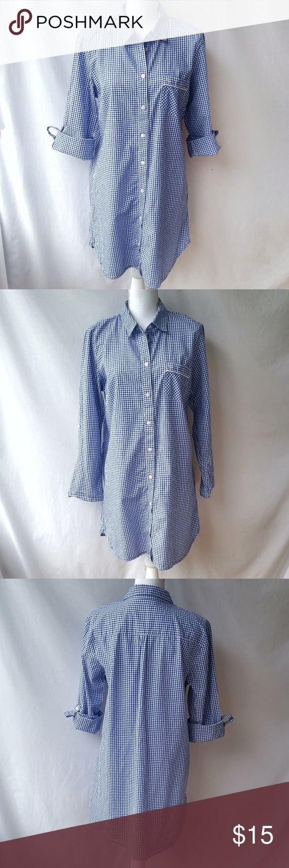"Victoria's Secret Nightdress Blue Gingham Check L Good pre-owned condition- light wear/ minor imperfections throughout due to normal use and washing, some stray threads along seams, no rips, holes, or stains. 100% cotton Size large 21.5"" armpit to armpit 34.5"" long 28"" sleeve (has a button and strap to keep it up when rolled) Victoria's Secret Intimates & Sleepwear Pajamas"