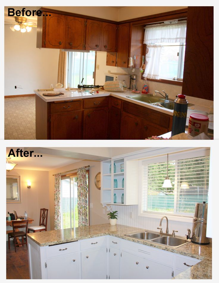 1960's kitchen makeover remodel before and after. Hardwood flooring, painted white cabinets, new appliances, instant granite countertops, new brushed nickel hardware and lighting, beige walls, aqua light blue accents, beadboard backsplash, new sink and faucet.