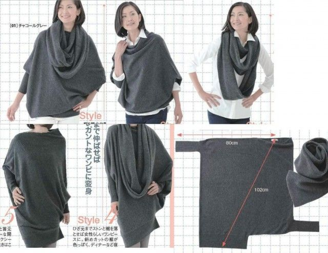 transformable convertible sweater - interesting - not sure I'd wear it, but one can never have too many ideas
