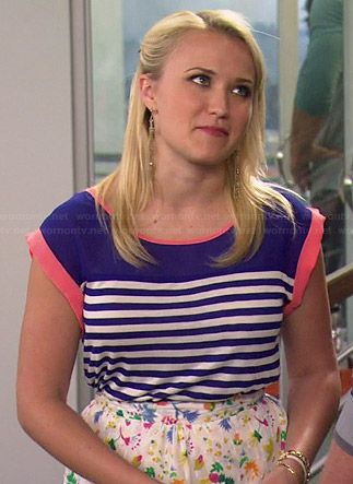 Gabi's blue striped top with pink trim on Young and Hungry.  Outfit Details: http://wornontv.net/35382/ #YoungandHungry