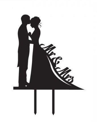 CheckMineOut Black Bride Groom Silhouette Mr & Mrs Acrylic Silhouette Wedding Cake Topper Engagement Cake Decoration