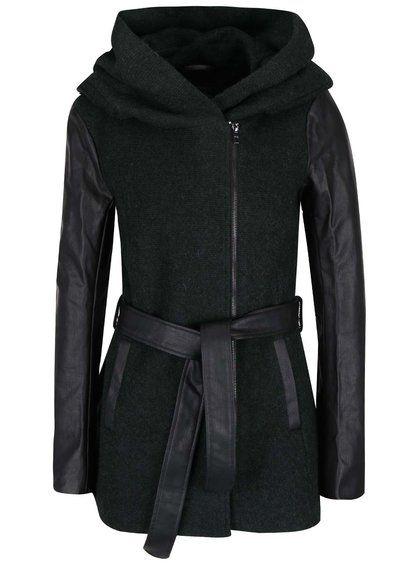 Černo-zelený vlněný kabát ONLY Lisford