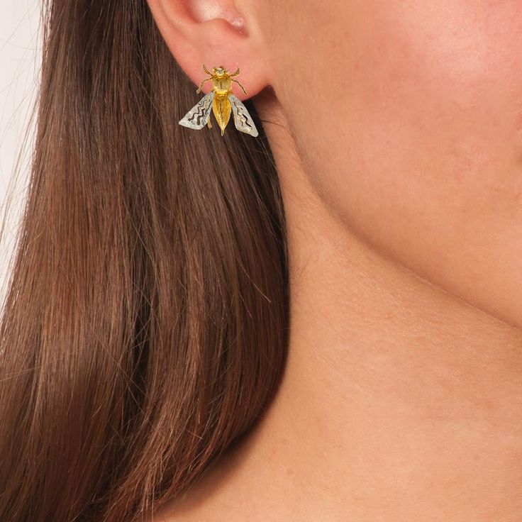 Handmade Silver Gold Plated Stud Earrings Bees - Anthos Crafts