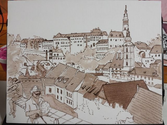 A freehand urban sketch of Cesky Krumlov done in India Ink for the Virtual Paintout challenge.
