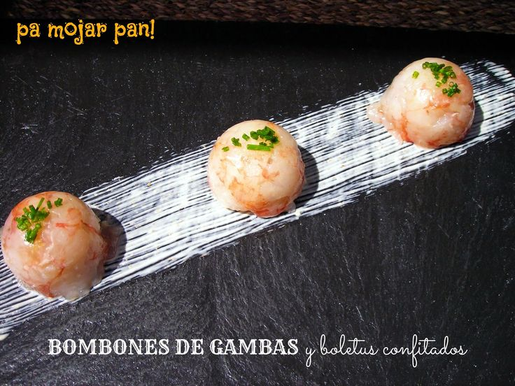 Ingredientes (para dos personas ):     6 gambas    Boletus confitados   Crema fraiche o queso fresco   Escamas de sal   Huevo    Unas...