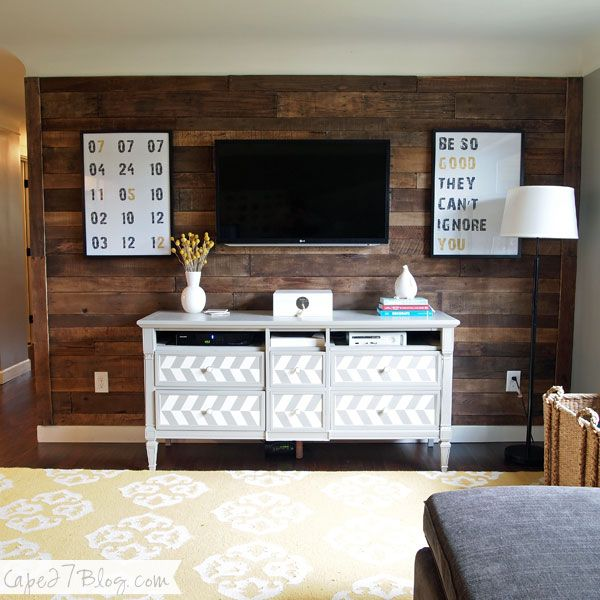 Pallet Wall via Cape27Blog. love the painted dresser, but especially how the TV blends in and seems like art. maybe i should use the wall behind the tv as feature so less attention on actual tv?