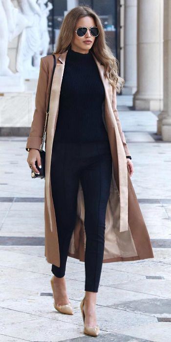 Nada Adelle + silky beige maxi coat + black cigarette trousers + black turtleneck + pair of matching beige flats + shades + Nada's sophisticated style  Coat: Lavish Alice, Bag: Rebecca Minkoff, Shoes: Topshop.