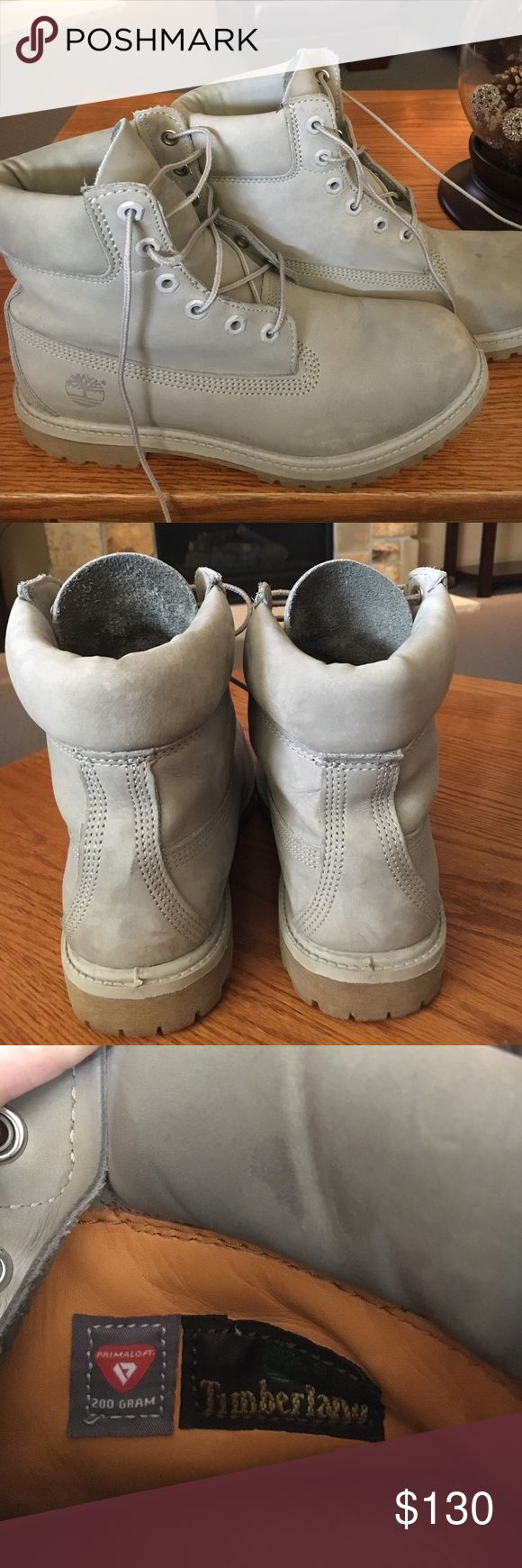 Timberland Boots- Light Grey Timberland Boots Light Grey! Only worn a couple times, in really good condition!! Timberland Shoes Lace Up Boots