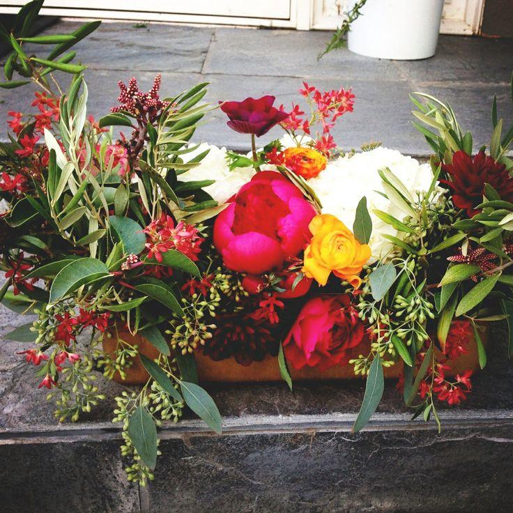 Wild boho chic centerpiece flower box centerpieces