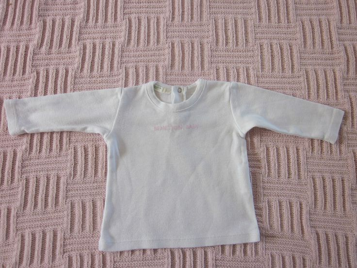 Baby girls Benetton white & pink long sleeved top, 0-3 months