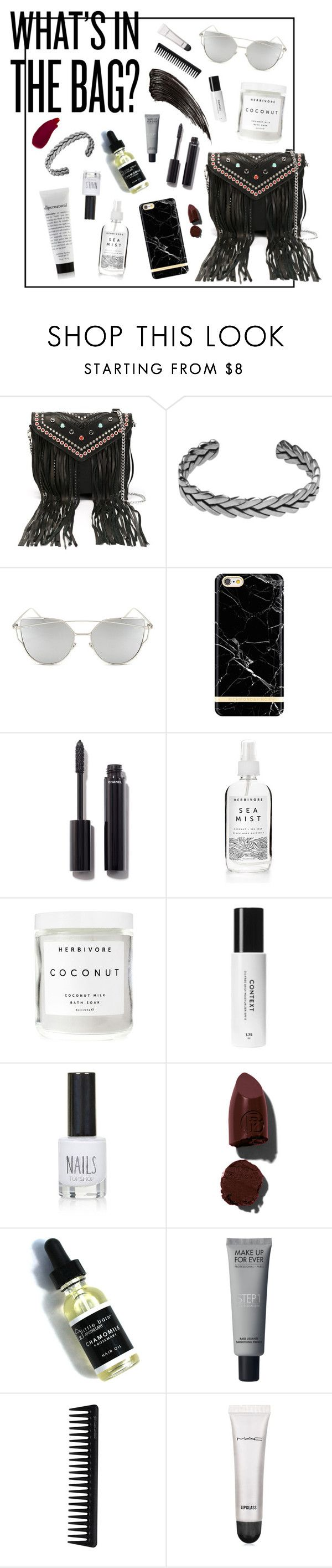 """What's in the bag?!"" by htc-los-angeles on Polyvore featuring moda, Hollywood Trading Company, HTC, Chicnova Fashion, Chanel, Herbivore Botanicals, Topshop, Lipstick Queen, GHD e MAC Cosmetics"