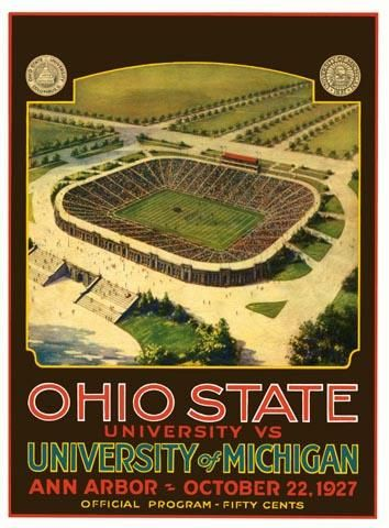 Vintage poster from the 1927 game, which marked the dedication of Michigan Stadium. Final score: Michigan 21, Ohio State 0. #GoBlue  poster available at: http://www.historicfootballposters.com/fp_poster.php?600+Michigan