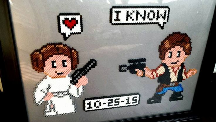 Han Solo and Princess Leia: Star Wars Wedding or Anniversary Gift Perler Bead Art by NerdCouple