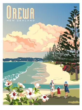 Retro Orewa Poster for Sale. Heeeey! I finally found our favourite pic of our favourite beach!