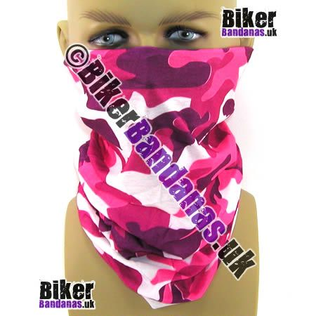 Pink Camouflage Multifunctional Headwear / Neck Tube Bandana.  One of over 400 Styles for Men and Women